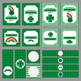 Tryckbar uppsättning av St Patrick partibeståndsdelar Arkivbild