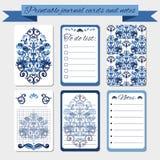 Tryckbara anmärkningar, tidskriftskort, etiketter, med blåa damast prydnader Arkivfoton