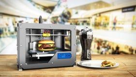 tryckhamburgaren 3d för skrivaren 3D framför begrepp för framgångmatmuskotblomma stock illustrationer