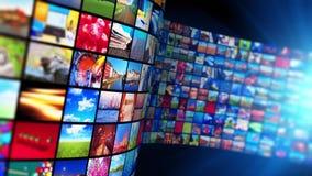 Tryckning av massmediateknologi och av multimediabegrepp lager videofilmer
