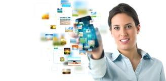 tryckning för telefon för baner mobil Fotografering för Bildbyråer