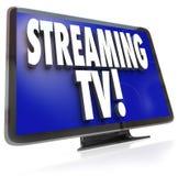 Tryckning visning för television för internet för TVHDTV av fastställd online- stock illustrationer