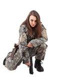 trycksprutan tjäna som soldat kvinnabarn fotografering för bildbyråer