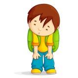 Tryckt ned pojke med skolapåsen Royaltyfri Foto