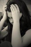 tryckt ned SAD teen för flicka Royaltyfri Fotografi