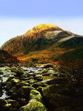 Tryfan. Mountain from waterfall, river ogwen, ogwen falls, nant ffrancon pass, snowdonia national park, wales , uk, gb Stock Image