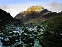 Tryfan. Mountain from waterfall, river ogwen, ogwen falls, nant ffrancon pass, snowdonia national park, wales , uk, gb Stock Photo