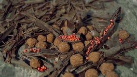 Tryfflar i mörk choklad med chiper för röd peppar och choklad stock video