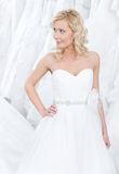 Trying on a beautiful wedding gown Stock Photography