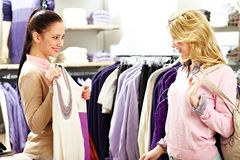 Trying clothes on Stock Image