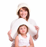 Trying on hats Stock Photos