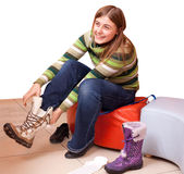 Trying new boots Royalty Free Stock Photos