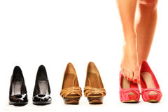 Trying on shoes Royalty Free Stock Image