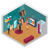 Trying Shop Isometric Interior Concept. Isolated and colored trying shop isometric interior concept with cloth accessories and buyers vector illustration Stock Photography
