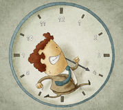 Trying to beat the clock. Illustration of businessman running inside a clock Trying to beat the clock Royalty Free Stock Photos