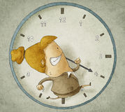 Trying to beat the clock. Illustration of businesswoman running inside a clock Trying to beat the clock Royalty Free Stock Photos