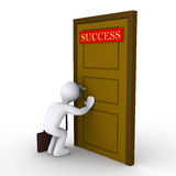 Trying to find success. 3d businessman looking through keyhole of door that has a success sign Royalty Free Stock Photos