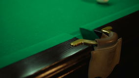 Trying to get into the pocket. Russian billiards, board game on a table stock footage