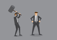 Trying to Kill with Mallet Concept Cartoon Vector Illustration. Cartoon businessman holding a huge mallet ready to hammer another unaware guy. Creative vector Royalty Free Stock Photography