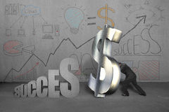 Trying to stand money symbol for success with business doodles Royalty Free Stock Photo