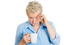 Trying to stay awake woman Stock Photography