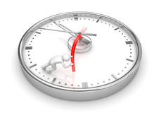 Trying to stop the clock. 3d isolated characters on white background series Royalty Free Stock Photos