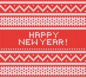Trykotowa tekstura z północnym ornamentem Wektorowy tło szczęśliwego nowego roku, Zdjęcie Stock