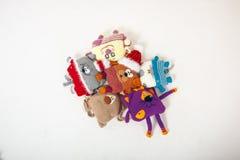 Trykotowe zabawki na białym tle Obrazy Royalty Free