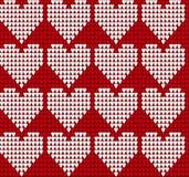 Trykotowej tekstury bezszwowy wzór z sercami Obrazy Royalty Free