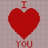Trykotowy czerwony serce Zdjęcie Royalty Free