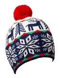 Trykotowy kapelusz odizolowywający na białym tle kapelusz z pompon Obraz Royalty Free