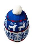 Trykotowy kapelusz odizolowywający na białym tle kapelusz z pompon B Zdjęcie Stock