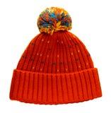 Trykotowy kapelusz odizolowywający na białym tle kapelusz z pompon ora fotografia stock