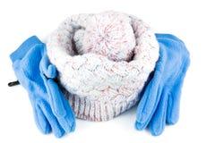 Trykotowy kapelusz z rękawiczkami Fotografia Stock