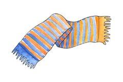 Trykotowy szalik z błękitem i kolorem żółtym paskuje akwareli ilustrację Fotografia Stock