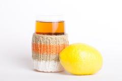Trykotowy szklany rosjanin sbiten z cytryną Zdjęcie Stock