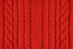Trykotowy woolen tło, czerwona tekstura Obrazy Royalty Free
