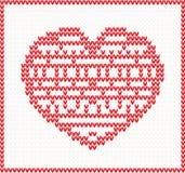 Trykotowy wzór z czerwonym sercem ilustracja wektor