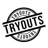 Tryouts rubber stamp. Grunge design with dust scratches. Effects can be easily removed for a clean, crisp look. Color is easily changed Royalty Free Stock Image