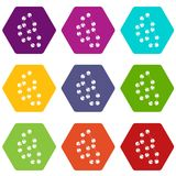 Tryptophan icons set 9 vector. Tryptophan icons 9 set coloful isolated on white for web Stock Photography