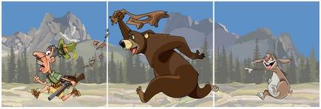 Tryptyk kreskówki niedźwiedź goni myśliwego i zajęczych prześmiewek ilustracja wektor
