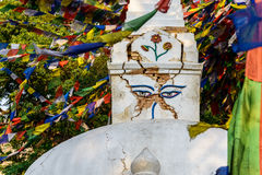 Trzęsienie ziemi uszkadzająca stupa przy Swayambhunath w Kathmandu Fotografia Stock