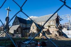 Trzęsienie ziemi dameged Christchurch katedra Zdjęcia Royalty Free
