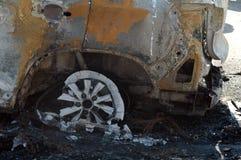 Trzaska samochód na miejscu wypadku Zdjęcie Royalty Free