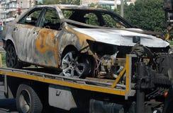 Trzaska samochód na miejscu wypadku Obraz Royalty Free