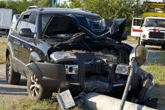 Trzaska samochód na miejscu wypadku Obrazy Royalty Free