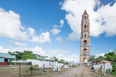 Trzcina cukrowa odpowiada obserwaci wierza przy Trinidad Zdjęcie Royalty Free