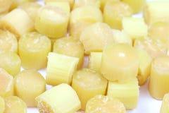Trzcina cukrowa, trzciny cukrowa rżnięty rozsypisko, tła trzciny cukrowa świeża Selekcyjna ostrość kawałki, trzciny cukrowa rolni obrazy royalty free