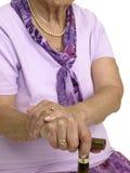 trzcina wręcza starej kobiety Obrazy Royalty Free