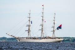 Trzebiez,波兰- 2017年8月08日-帆船谢多夫航行到充分的海在高船种族以后决赛2017年在0的Stettin 库存照片